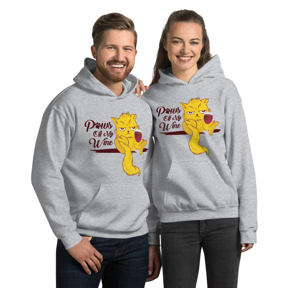 Paws Off My Wine Cat Graphic Hoodie Sweatshirt PetDesignz