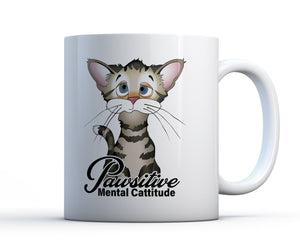 15oz white ceramic coffee mug with funny and cute cat and the words positive mental cattitude.