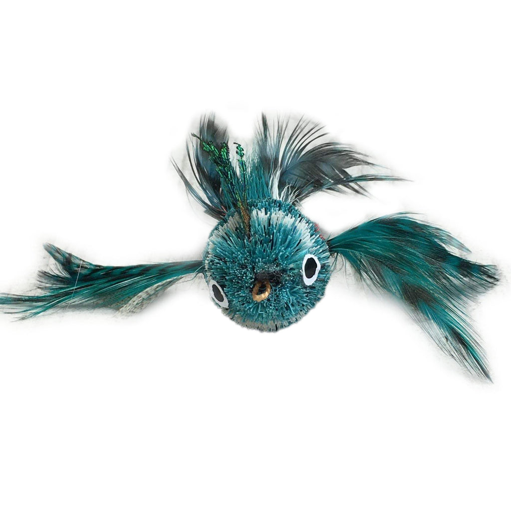 This is a Pretty Fly Bird Teaser Wand Cat Toy Replacement Lure by Catboutique. The bird is made from real deer hair and it gives a bristly hair appearance. It has bird feather for wings and a tail. There is a cotter ring clip where the beak should be. The bird is mostly turquoise with a white strip near the eyes. This lure is meant to engage at the cat's hunting instincts like prowling, pawing, and pouncing. The lure works best with a teaser wand cat toy.