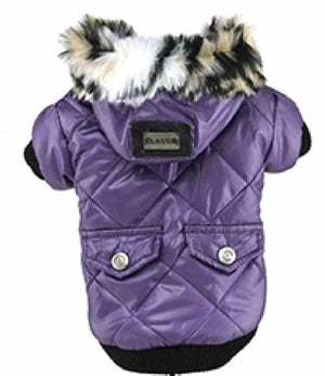 Neoprene Parka Winter Dog Coat (Jacket) with Faux Fur Hoodie– Pink, Green, and Purple