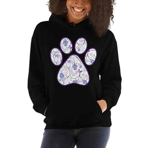 Purple Swirl with Butterfly Paw Print Graphic Hoodie Pullover Sweatshirt PetDesignz Unisex men women