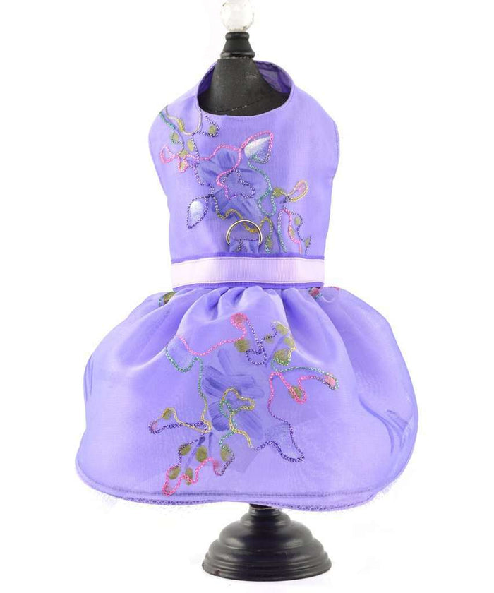 Hand Painted Purple Sheer Dog Harness and Dress By Spoiled Dog Designs