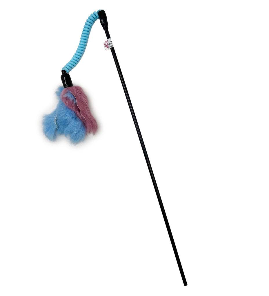 This is a Jumping Rabbit Fur Teaser Wand Cat Toy by Catboutique. The lure itself is made from real rabbit fur. The rabbit fur is leftovers from the food industry. This rabbit fur is dyed light blue and a dullish red. The lure is attached to an elastic coiled cord that helps with bounce action. Cord and lure attach to a nearly sixteen inch wand. The teaser wand and toy are meant to engage your cat's hunting instincts.