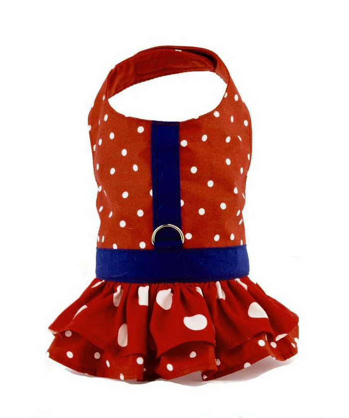 Red Polka Dot Dog Dress and Harness With Ruffles By Spoiled Dog Designs