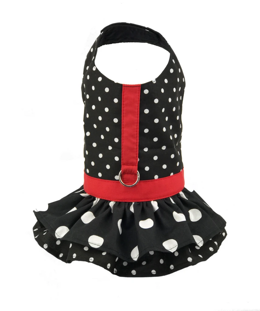 Black and White  Polka Dot Ruffled Dog Vest Harness by Spoiled dogs