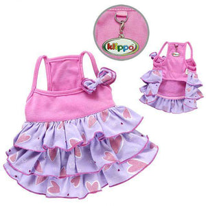 Klippo - Shimmery Hearts Purple and Pink Ruffle Dog Dress with Bow