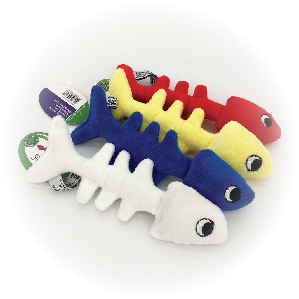 These are Fish Bones Plush Catnip Cat Toys by Loopies. The fish come blue, red, white, and yellow. Each fish has a soft plush body that is great for a cat's gnawing and biting. The body is designed for durability and long hours of play. Also, each fish is stuffed with organic catnip to attract cats more. The toy is meant to engage a cat's hunting instincts.