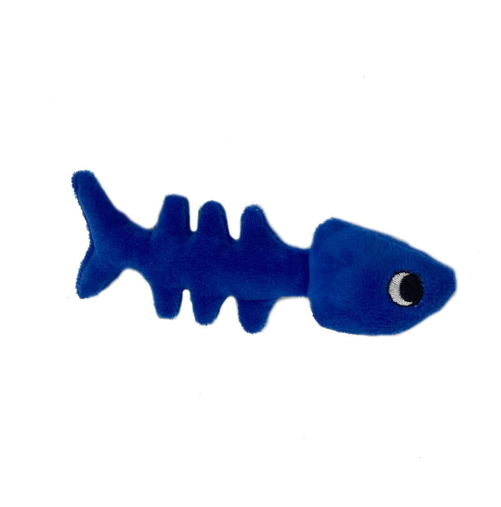 This is a Fish Bone Plush Catnip Cat Toy by Loopies. The toy is blue and has a fish body showing its bones.  It has a soft plush body for biting and gnawing. The toy is designed for durability and long hours of play. The fish is stuffed with organic catnip to attract your cat even more. The toy is meant to engage a cat's hunting instincts.