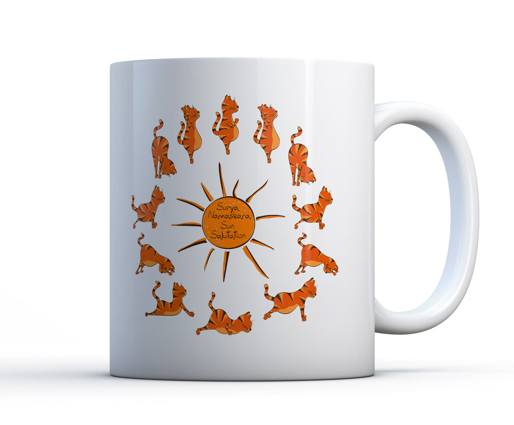 White ceramic coffee mug with a ginger tabby cat doing yoga, performing a sun salutation in 12 poses around a sun.