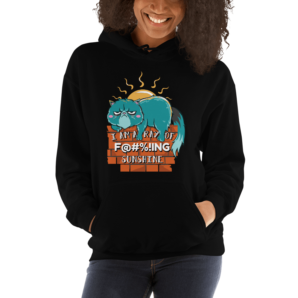 I'm A Ray of Fucking Sunshine, Grumpy Cat, Graphic Pullover Hoodie Sweatshirt Cat PetDesignz Unisex men women