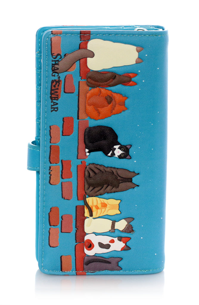Large Faux Leather Wallet - Cats in a Row