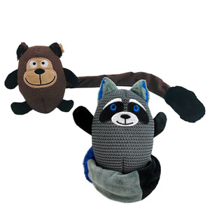 Loopies - Tuggo Tails Dog Toy - Monkey and Racoon