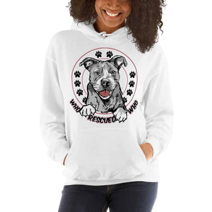 Who Rescued Who Dog Graphic Pullover Hoodie Sweatshirt PetDesignz Unisex men women