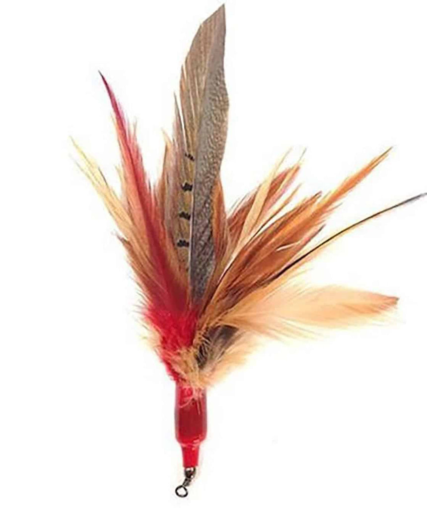 This is the Da Wild Thing Feather Teaser Wand Cat Toy Replacement Lure by Go Cat. The lure is comprised of red, orange, brown, and blackish feathers. There is a cotter ring  at one end of the lure. The lure works best with a Go Cat Teaser Wand Cat Toy. This lure is meant to engage the cat's instincts, like hunting, pouncing, and pawing.
