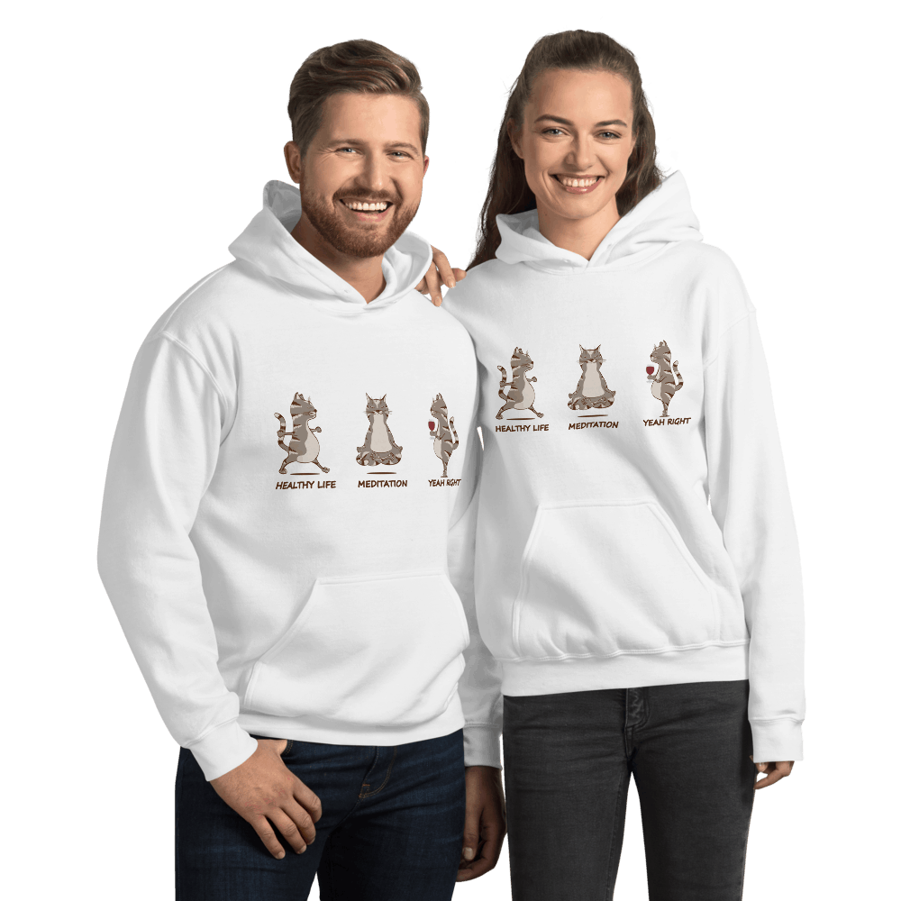 Healthy Life... Yeah Right Wine Drinking Cat doing Yoga Graphic Pullover Hoodie Sweatshirt PetDesignz Unisex men women
