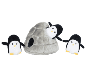 ZippyPaws - Burrow Squeaky Hide & Seek Interactive Plush Dog Toy, Penguin Cave