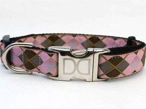 Diva Dog - Argyle Dog Collar with Custom Engraved