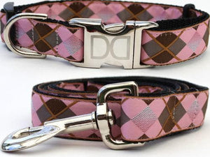 Argyle Custom Engraved Dog Collar by Diva Dog (Optional Matching Leash Available)