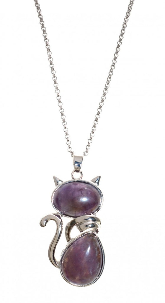 "ShagWear - Amethyst Cat Pendant Necklace, 31"" Length"