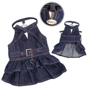 Klippo - Denim Dog Dress with Stylish V-Neck and Adjustable Neck Strap