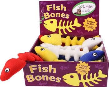 This is a box of Fish Bones Plush Catnip Cat Toys by Loopies. The fish come blue, red, white, and yellow. Each fish has a soft plush body that is great for a cat's gnawing and biting. The body is designed for durability and long hours of play. Also, each fish is stuffer with organic catnip to attract cats more. The toy is meant to engage your cat's hunting instincts.