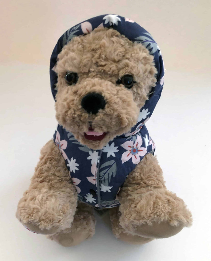 Fun, Breathable Floral Fleece Hooded Dog Coat (Jacket) - Pink or Blue