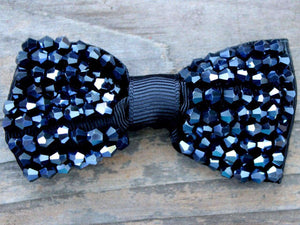 Diva Dog - Dog Collar Bow - Gatsby Jet Beaded (Removable)