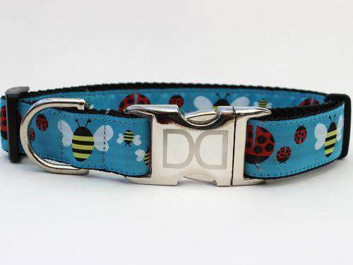 Lady Bugs and Bumble Bees Custom Engraved Dog Collar by Diva Dog PetDesignz