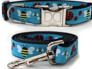 Lady Bugs and Bumble Bees Custom Engraved Dog Collar and Leash by Diva Dog PetDesignz