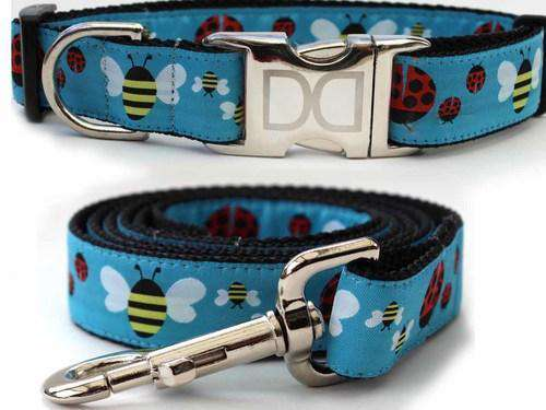 Lady Bugs and Bumble Bees Custom Engraved Dog Collar by Diva Dog (Optional Matching Leash Available)