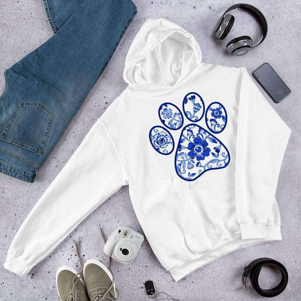 English Blue Flower Paw Print Graphic Pullover Hoodie Sweatshirt PetDesignz Unisex men women