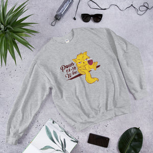 Paws Off My Wine Cat Graphic Crewneck Sweatshirt PetDesignz