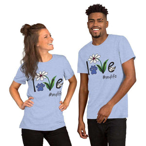 Love, My Life Spring Flower, Cat, Paw Print PetDesignz Graphic T-Shirt Unisex men women