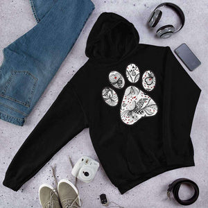 Queen of Hearts Paw Print Graphic Pullover Hoodie Sweatshirt PetDesignz Unisex men women