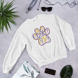 Yellow Purple cat dog floral paw print  PetDesignz Graphic crewneck sweatshirt Unisex men women