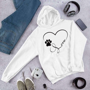 Paw Print Heart with Love PetDesignz Graphic Pullover Hoodie Sweatshirt Dog Cat Unisex men women