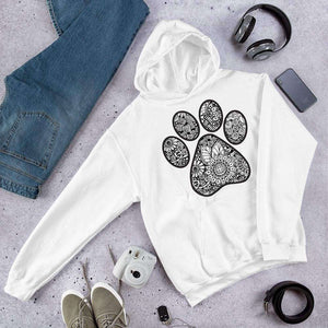 Geometric Sunflower Paw Print Graphic Pullover Hoodie Sweatshirt