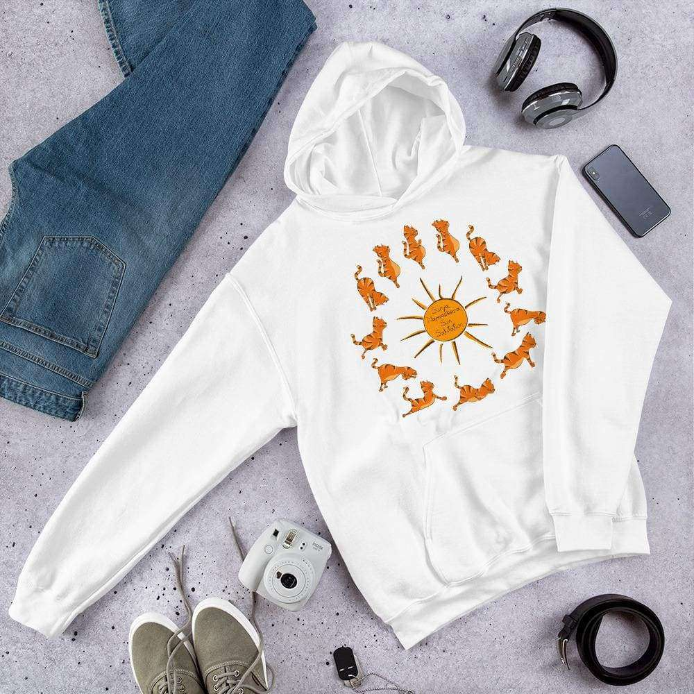 Sun Salutation Yoga Cat Graphic Pullover Sweatshirt Hoodie PetDesignz Unisex men women