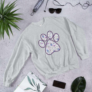 Purple swirl butterfly cat dog floral paw print PetDesignz Graphic crewneck sweatshirt Unisex men women