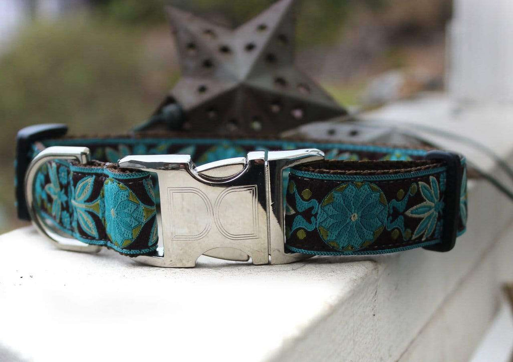 Peacock Boho Custom Engraved Dog Collar by Diva Dog PetDesignz