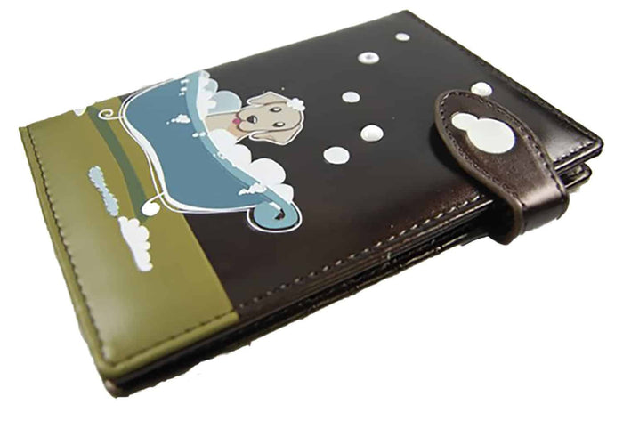 ShagWear - Faux Leather Credit Card / Passport Wallet - Puppy in Tub