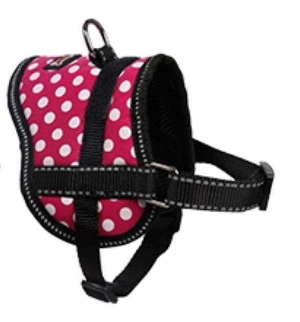 This is a Small Dog & Cat Oxford Training Harness by DogLemi. It's material has a pink base with white polka dots all over it. It's for training animals how to walk, not jump, and not pull. It's an excellent alternative to collars for pets with medical conditions such as collapsing trachea and more.