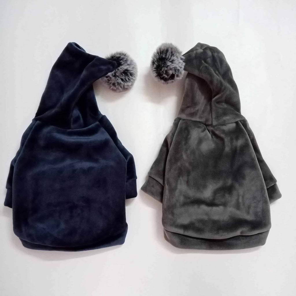 Winter Velour (Velvet Feel) Pom Hoodie Sweatshirt - Gray or Navy