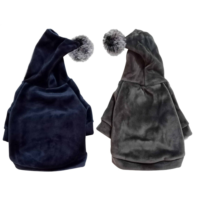 Winter Velour (Velvet Feel) Pom Dog Hoodie Sweatshirt - Grey or Navy