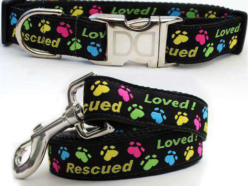 Rescue Me Custom Engraved Dog Collar and Leash by Diva Dog PetDesignz