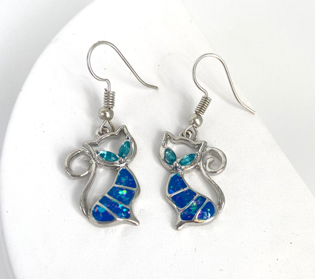 Blue Opal Cat Jewelry Bundle - Earrings and Necklace - Artisan Jewelry Set