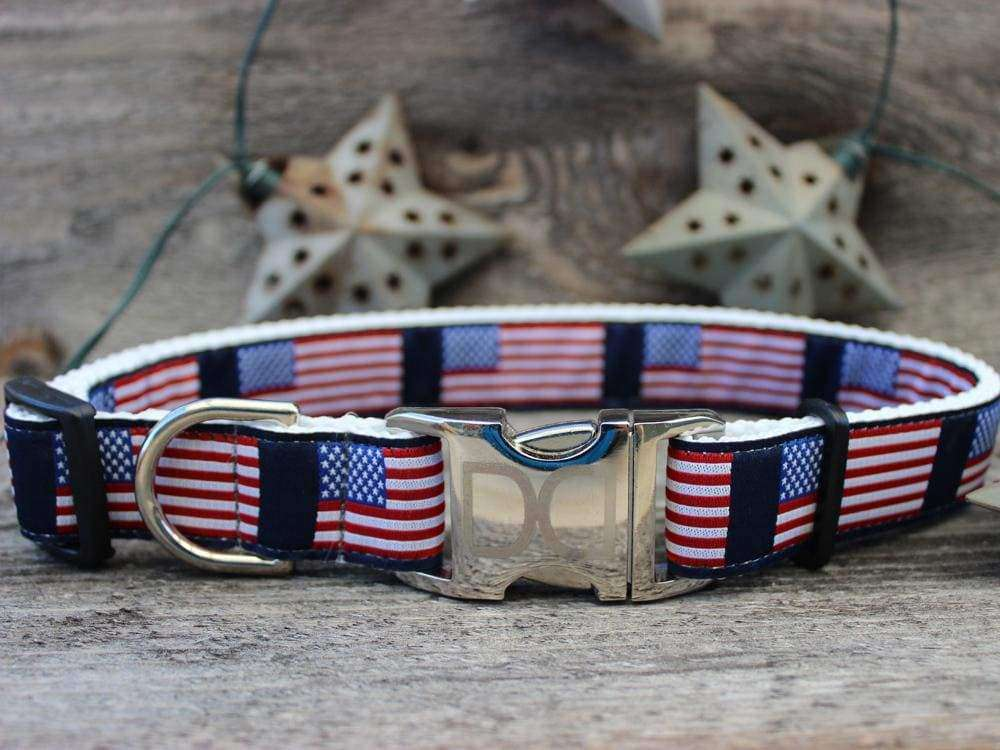 Diva Dog - Stars n Stripes Dog Collar with Custom Engraved