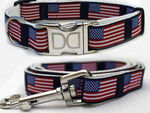 Stars n Stripes Custom Engraved Dog Collar and Leash by Diva Dog PetDesignz