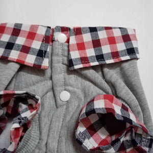 Versatile Sweatshirt with Plaid Collared Shirt - Blue or Grey