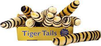 This is a box of Tiger Tail Catnip Plush Cat Toys by Loopies. The box is golden yellow with Tiger Tails written across it. The tiger tail is a nine-inch plush toy loaded with catnip. The catnip is 100% organic and grown in the USA, which helps the catnip stay fresher longer. These toys are great for back leg kicking/scratching and hugging.